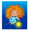 Little red angel with star vector image
