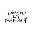 live in moment phrase modern calligraphy vector image vector image