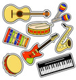 musical instruments and equipment sticker set vector image vector image