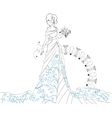 Ornate Bride Silhouette hand drawing with bouquet vector image vector image