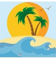 Palm trees beach seashells sunset and waves vector image vector image