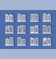 paper cut buildings and bank set on background vector image vector image