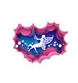 paper cut cute magic fairy swinging on swing vector image