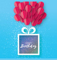 pink flying paper cut balloons happy birthday vector image