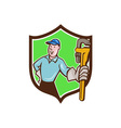 Plumber Presenting Monkey Wrench Shield Cartoon vector image vector image