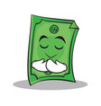 praying face dollar character cartoon style vector image