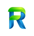 R letter leaves eco logo volume icon vector image