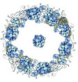 round floral garland with hydrangea flowers vector image vector image