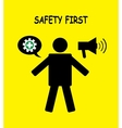 safety first icon symbol human with yellow vector image vector image