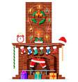 santa claus stuck in chimney vector image