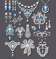 set jewelry made silver and precious stones vector image vector image
