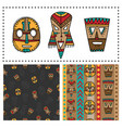 set of ethnic seamless patterns with tribal vector image