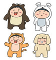 set of kids wearing animal suits vector image