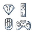 set videogame technology with electronic simulator vector image vector image