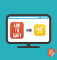 shopping cart on screen and add to cart button vector image vector image