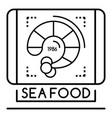 shrimp sea food logo outline style vector image