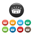 sport round stadium icons set color vector image vector image