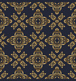 swirl pattern seamless gold and navy blue vector image