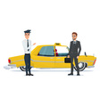 taxi driver invites business people businessman go vector image vector image