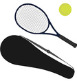 Tennis ball tennis racket racket cover vector image