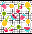 tropical fruits doodle color stickers set vector image