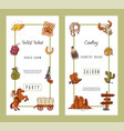 wild west invite party template banners vector image vector image