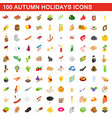 100 autumn holidays cons set isometric 3d style vector image vector image