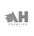 ah a h zebra letter logo design with black and vector image