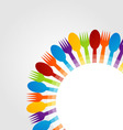 Background with colorful spoons and forks