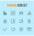 banking outline icon set vector image vector image