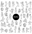 black and white people characters large set vector image vector image