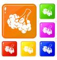 broccoli food icons set color vector image vector image