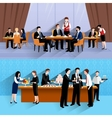 Business people lunch 2 banners composition vector image vector image