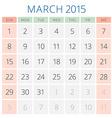 Calendar 2015 March design template vector image vector image