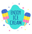 card with ice cream isolated on white background vector image