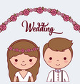 cartoon wedding couple icon vector image vector image