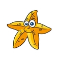 Cartooned yellow star fish with smiling face vector image vector image