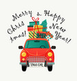 christmas card red retro car with a fir tree vector image vector image