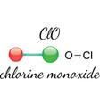 ClO chlorine monoxide molecule vector image vector image