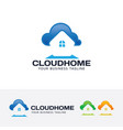 cloud home logo design vector image vector image