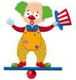 clown balancing on blue beam vector image