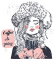 cute winter girl with coffee cup vector image vector image