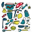 doodle cartoon kitchen elements big set vector image