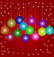 doodle christmas baubles on red background a vector image