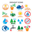 drought natural disaster climate icons vector image