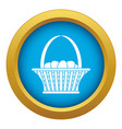 easter basket icon blue isolated vector image