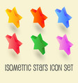 five-pointed colorful star isometric icon set vector image vector image