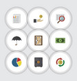 flat icon incoming set of document counter graph vector image vector image