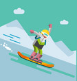 girl on snowbord riding downhill vector image