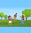 happy children hike in summer park nature vector image
